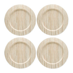 """Origin Crafts - Water hyacinth charger plates (set of 4), natural - Water Hyacinth Charger Plates (Set of 4), Natural Made from sun dried water hyacinth stems which are woven, dyed and sewn w/cotton and polyester thread. Water hyacinth is a natural, renewable resource. Wipe clean with damp cloth - spot clean only, color transfer may occur. Stretched over E1 MDF wooden plate. Dimensions (in):13"""" dia. By Tag Ltd. - Tag Ltd. is a supplier of decorative accessories. Ships out in 2-3 Business Days."""
