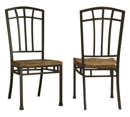 Home Styles - Home Styles Oak Hill Wood Dining Side Chair in Oak Finish (Set of 2) - Home Styles - Dining Chairs - 5050802 - Home Styles Pair of Oak Hill dining chairs are constructed of solid oak in a rich multi- step distressed Oak finish. Features include stylish metal back and legs in an antiqued bronze finish with accented rubbed edges, and uniquely hand distressed contoured seat