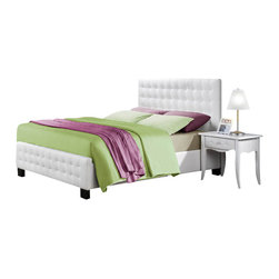 Homelegance - Homelegance Sparkle 5-Piece Upholstered Bedroom Set in White Bi-Cast Vinyl - The glamour girl in your life will swoon when she opens her bedroom door to the Sparkle collection. Fashion forward and scaled to fit her needs, this trendy bedroom will make her the envy of all of her friends. white bi-cast vinyl is featured not only on the tufted headboard, but on the-drawer fronts of each case piece and coordinating vanity and storage stools. Clear hardware is faceted for maximum sparkle and punctuates each-drawer front. Matching vanity features a hidden mirror within the lift top storage area.