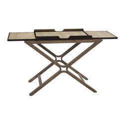 """John Richard - John Richard Bar Cart EUR-03-0462 - The """"x"""" frame is laminated from solid oak and finished in a limed driftwood, while the tray top is veneered in smoked figured eucalyptus. Opening the fold over tops reveals a grey chagrin serving area. Extends to 60"""" when opened."""