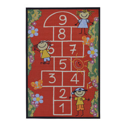 None - Red Children's Playground Design Area Rug (5' x 6'6) - Babies Collection offers a large variety of non-skid rubber backed area rugs with children's education and novelty designs at the most competitive prices. This adorable kids rug features a fun hopscotch design on a red rug.