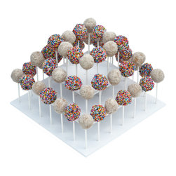 The Smart Baker - The Smart Baker 3 Tier Square Cake Popstand - Nothing could be cuter than a Cake Pop!  So the last thing you want after spending hours painstakingly decorating your pops is to present them on an ugly display.  Your cake pops deserve better.No more poking holes in Styrofoam or throwing away cardboard, our chic white PVC Cake Pop Stand has spaces that fit your cake pop sticks perfectly and holds them snugly in place.  The PVC wipes down easily, so it is re-usable for event after event.  These cake pop displays have three tiers that hold up to 52 cake pops or lollipops.  Not making 52 cake pops? Simply remove a tier and customize it to your needs.  Just like our Cupcake Stand and Treat Towers, they are size adjustable and can be used in different tier configurations.  Tier widths are staggered so that pops on the tier below and stand outside of the tier above it.