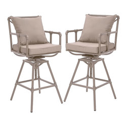 Great Deal Furniture - Tallahassee Outdoor Adjustable Height Swivel Bar Stools (set of 2) - Made of genuine steel pipes the Tallahassee bar stool has an aesthetic design for classy modern homes. The Tallahassee bar stool combines a modern, angular pipe frame with the convenience of outdoor cushions. You can comfortably relax at your outdoor bar or pub and adjust the stool's height accordingly.