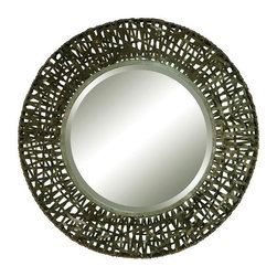 """Uttermost - Uttermost 11587 B Alita Woven Metal Mirror - Mirror features a metal frame with black woven metal details. Mirror has a generous 1 1/4"""" bevel."""