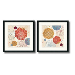 Amanti Art - Abstract Bouquet - Set by Veronique Charron - In these striking abstract art prints, Veronique Charron skillfully marries contrasts; dark hues with light and nature inspired imagery with geometric shapes.
