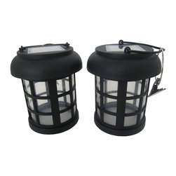 Smart Solar - Umbrella Hanging Solar Lantern 2-pack - Decorative lighting ideal for your patio or deck. Open bottom lantern is ideal for clipping to an umbrella for ambient lighting around a table. Lanterns can also be placed on flat surfaces. Energy saving white LED in each light. Powered by an integrated solar panel. Automatically turns on at dusk and off at dawn. Up to 8 hours of light each night when fully charged. Replaceable, rechargeable Ni-MH battery. Includes handle and hanging clips. No wiring, simply install and enjoy. No operating costs.