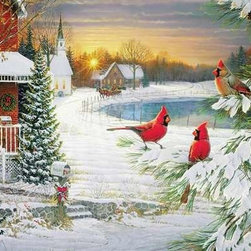 Twilight Trio Puzzle - 500 Piece Jigsaw PuzzleCan you spot the fourth cardinal? You'll find it one way or another along with all of the other hidden details in this festive     puzzle!