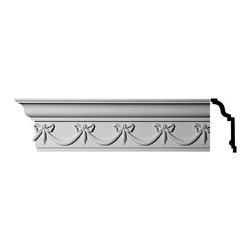 Renovators Supply - Cornice White Urethane Hastings-on-Hudson - Cornice - Ornate | 11379 - Cornices: Made of virtually indestructible high-density urethane our cornice is cast from steel molds guaranteeing the highest quality on the market. High-precision steel molds provide a higher quality pattern consistency, design clarity and overall strength and durability. Lightweight they are easily installed with no special skills. Unlike plaster or wood urethane is resistant to cracking, warping or peeling.  Factory-primed our cornice is ready for finishing.  Measures 6 inch H x 96 inch L.