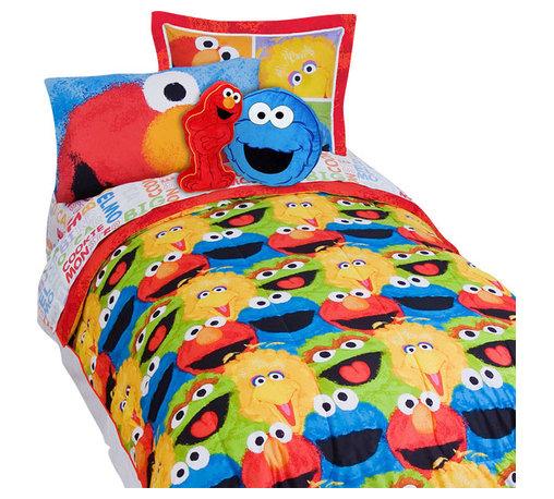 Store51 LLC - Sesame Street Elmo Chalk 5-Piece Elmo Twin Bed-in-a-Bag Set - Features: