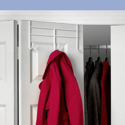 """Hooks & Racks - Add storage to any room in your home with the Over the Door 3-Hook Rack. Take advantage of unused space behind doors by hanging a variety of items. The sturdy steel bracket fits doors up to 1-5/8"""" thick and is perfectly sized to be used on standard and bi-fold doors. This rack is great where space is limited such as dorm rooms, apartments and small closets."""