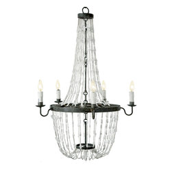 Kathy Kuo Home - Burnett Hollywood Regency White Quartz Crystal Chandelier - Like a prismatic, powerful waterfall, rock crystals overflow from this Hollywood Regency chandelier. Matte black metal, in perfect circles, holds candelabra lights that twinkle and reflect your romantic nature.