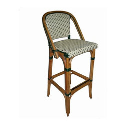 Trocadero Rattan Bar Stool - Black or Green - This stool takes a traditional European cafe chair and brings it up to new heights. the woven back mixed with rattan adds charm and French flavor.