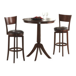 Hillsdale Furniture - Plainview Archer 3 Pc Bistro Table Set in Bro - For residential use. Includes table and 2 stools. Tapered and slightly flared table legs. 360��� Swivel barstool. Dark Brown faux leather seats. Transitional arched stool back design. Composed of hardwoods. Climate controlled wood composites. Minor assembly required. Table: 36 in. Dia. x 41 in. H. Stool: 18 in. W x 18 in. D x 44 in. H. Seat height: 30 in. HThe Archer bistro set, in a Brown finish. The bar height table compliments the barstools with a slender pedestal base, flared legs, and a round top with a generous apron.