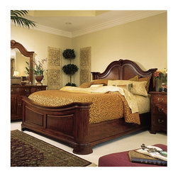"""American Drew - Grove Mansion Panel Bed - The 45th Anniversary Cherry Grove Collection is a blending of new and old adaptations from 18th century and higher end traditional styling. Georgian, Edwardian, Sheraton along with Queen Anne elements create this beautiful assortment of furniture. Cathedral cherry veneers, alder solids and select hardwoods create a new and exciting collection of bedroom, dining room and occasional for American Drew. Cherry Grove features many new items that have been designed to fill the needs of your home along with many proven winners that have existed since the very beginning. Scale and dimension have been addressed to better suit today's standard of living. Cherry Grove now offers you a variety of opportunities to complement multiple decorating environments. In the American Drew tradition, attention to detail and exquisite craftsmanship make every piece an heirloom. Youll be investing in a timeless piece of furniture that will be cherished for generations to come.Celebrate tradition with Cherry Grove. Features: -Mansion bed with mattress support system, wood rails, headboard, and footboard. -Constructed with cherry veneers, alder solids and select hardwoods. -Box spring required. -One year warranty. Specifications: -footboard H: 29"""". -Standard box spring H: 9"""". -Low profile box spring H: 6"""".  Care of Fine Finishes: American Drew finishes are naturally resistant to minor everyday hazards and accidents; however, some precautions are necessary to maintain the beauty of your wood furniture. -Dust with a soft clean cloth slightly moistened with water, and then dry completely with another clean cloth. -Always rub in the direction of the wood grain. -Avoid cigarettes, hot dishes, moisture and harsh solvents such as nail polish and alcohol. -Do not place beverages directly on furniture. -Use pads beneath accessories when writing or eating. -Remove spills and smudges immediately. -Pliable materials should not be left on a wood surface; they can d"""