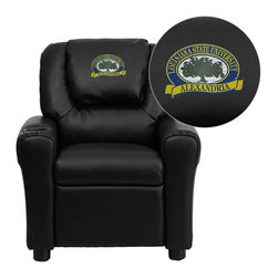 """Flash Furniture - LSU Alexandria Generals Black Leather Kids Recliner with Cup Holder and Headrest - Get young kids in the college spirit with this embroidered college recliner. Kids will now be able to enjoy the comfort that adults experience with a comfortable recliner that was made just for them! This chair features a strong wood frame with soft foam and then enveloped in durable leather upholstery for your active child. This petite sized recliner is highlighted with a cup holder in the arm to rest their drink during their favorite show or while reading a book. Louisiana State University at Alexandria Embroidered Kids Recliner; Embroidered Applique on Oversized Headrest; Overstuffed Padding for Comfort; Easy to Clean Upholstery with Damp Cloth; Cup Holder in armrest; Solid Hardwood Frame; Raised Black Plastic Feet; Intended use for Children Ages 3-9; 90 lb. Weight Limit; CA117 Fire Retardant Foam; Black LeatherSoft Upholstery; LeatherSoft is leather and polyurethane for added Softness and Durability; Safety Feature: Will not recline unless child is in seated position and pulls ottoman 1"""" out and then reclines; Safety Feature: Will not recline unless child is in seated position and pulls ottoman 1"""" out and then reclines; Overall dimensions: 24""""W x 21.5"""" - 36.5""""D x 27""""H"""