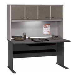 Bush Business - 60 in. Pewter Hutch - Series A - Adding a hutch to your existing working desk is the best way to get the office area organized while saving on space.  Using a hutch is especially useful because you get an instant daily notice board as well, where you can place your reminders, appointments and/or pictures of those you love to add a touch of your own personality. * Convenient overhead concealed storage area. Fits optional task lighting. Durable vinyl facade on door fronts. Fabric-covered tackboard on backpanel . Divide work stations with finished back panel. Self-closing adjustable hinges. 59.606 in. W x 13.819 in. D x 36.496 in. H