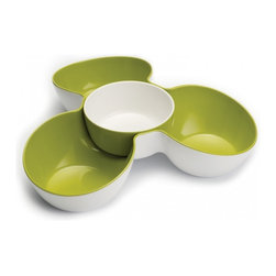Joseph Joseph - Triple Dish Set, White/Green - Joseph Joseph's Triple Dish Multi-Bowl Serving Dish makes a practical and stylish addition to any table. It provides three generous compartments for serving a variety of chips, snacks or crudits, and includes a removable dish in the center that is ideal for holding large portions of dip. Made from 100% melamine the Triple Dish is durable and easy to clean. Dishwasher safe.