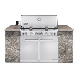 Weber Summit S-660 Built In Gas Grill - Natural Gas - Don't get lost outback - build your grill island around a Weber Summit S-660 Built In Gas Grill - Natural Gas and meat your maker. This gorgeous stainless steel built in grill from Weber features maximum cooking power 4 different ways to heat your meat and a wide range of professional features. Read on to see what this grill's got in store. Additional Information 6 stainless steel main burners for 624 square inches of primary cooking area 145-sq.-inch warming rack adds up to a total of 769 inches of cooking area 9.5mm stainless steel cooking grates and Flavorizer bars Main burner system runs at 60 000 BTUs Rotisserie with rear-mounted infrared burner runs at 10 600 BTUs Sear Station burner steps up the heat for flavorizing at 10 600 BTUs Integrated 6 800 BTU smoker burner with stainless steel smoker box Snap-Jet burner ignition system allows individual lighting Double-walled stainless steel shroud with handle and built-in thermometer Storage area below with stainless steel doors and shelf Lighted control knobs for easy cooking in the evening SlideFrame design allows for easy installation into any island and easy removal for maintenance 2 swivel and 2 locking casters make it easy to move and easy to keep in place Fuel type: natural gas power Grill Out handle light included Durable black vinyl cover included Owner's guide and recipe book included Dimensions: 49.5H x 42W x 31D inches (island not included) Weber model number NG 7460001 About Weber GrillsWeber-Stephen Products Co. headquartered in Palatine Ill. is the premier manufacturer of charcoal and gas grills grilling accessories and other outdoor room products. A family-owned business for more than 50 years Weber has grown to be a leading seller of outdoor grills worldwide.