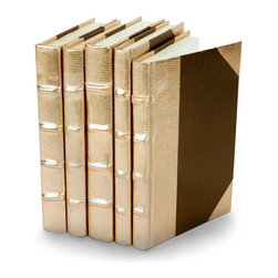 Metallic Collection Books - Rose Gold - Set of 5 - You can, indeed, judge a book by its cover. A visually striking set of decorative tomes, the Metallic Collection Books - Rose Gold - Set of 5 make an impressive graphic statement when placed upon a shelf in an eclectic great room, a window ledge in a home office, a fireplace mantel embellished with objects d'art, or glass-fronted armoire in a personal library.