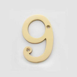 Solid Brass 4 Inch (100mm) Door Number 9 #2279 | Cool House Numbers - Number 9 Polished Brass Solid Brass 4 Inch (100mm)