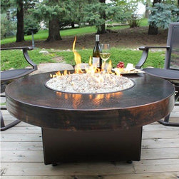 """Oriflamme - 42"""" Round Oriflamme Hammered Copper Fire Table - The 42"""" round Hammered Copper top offers and elegant and rich appearance.  This top is made from shaped and hammered 18-gauge copper with a dark acid-etched finish applied."""