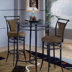 Hillsdale Furniture - Hillsdale Mix-N-Match 3 Piece Pub Table Set w/ Cierra Stools in Bear - The Mix N Match bistro set is both contemporary and versatile. Available in black metal with a glass top and 6 choices of matching stools.