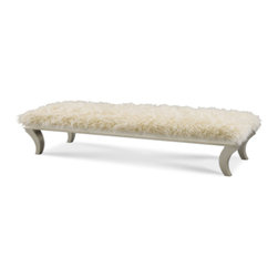 Faux Sheepskin bed bench - Finish: Platinum - 05