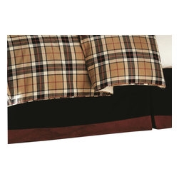 """Mystic Valley - Mystic Valley Traders Fulham Road - Bed Skirt, King - The Fulham Road bed skirt is fashioned from the Midnight fabric with a 3.5"""" Claret border; it is unlined and tailored, with a 16"""" drop."""