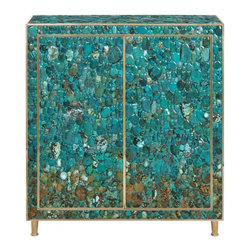 ecofirstart.com - Amber Cabinet, Turquoise - Cabinet in natural wood covered with Turquoise Cabochons, frame and feet in brass. Two doors in front. Two shelves inside.