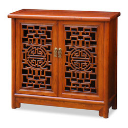 China Furniture and Arts - Elmwood Double Longevity Design Cabinet - This hand crafted double longevity design cabinet was constructed with Elmwood using traditional joinery methods by artisans in China. Two removable shelves behind doors for your storage convenience. Hand-applied clear wood stain enhances the beauty of natural wood grain. Cable outlets can be made upon request. (Assembled.)