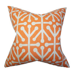 The Pillow Collection - Heath Orange 18 x 18 Geometric Throw Pillow - - Pillows have hidden zippers for easy removal and cleaning  - Reversible pillow with same fabric on both sides  - Comes standard with a 5/95 feather blend pillow insert  - All four sides have a clean knife-edge finish  - Pillow insert is 19 x 19 to ensure a tight and generous fit  - Cover and insert made in the USA  - Spot clean and Dry cleaning recommended  - Fill Material: 5/95 down feather blend The Pillow Collection - P18-PP-ARUBA-MANDARIN-C100