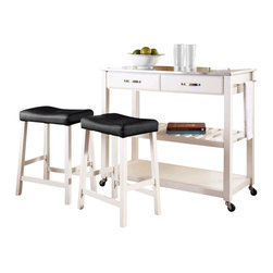 Crosley Furniture - Crosley Stainless Steel Top Kitchen Cart/Island with Stools in White - Crosley Furniture - Kitchen Carts - KF300524WH