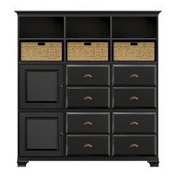 Howard Miller Custom - Holly Cabinet w 8 Panel Drawers in Antique Black - This cabinet is finished in Antique Black on select Hardwoods and Veneers, with Antique Brass hardware. 2 beveled panel doors. 8 raised panel drawers. 5 adjustable interior shelves and 3 large woven baskets. Cove profile top and Ogee profile base. Hardware: Antique Brass knobs on doors and cup pulls on drawers. Features soft-close doors, metal drawer glides, and metal shelf clips. Simple assembly required. 73 1/2 in. W x 17 in. D x 78 1/2 in. H