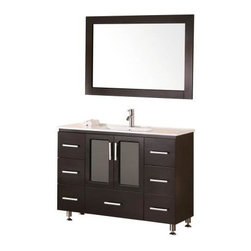 "Design Element - Stanton 48"" Single Sink Vanity Set, Espresso,Drop in Sink - The Stanton 48"" vanity is elegantly constructed of quality woods. The porcelain counter top and seamlessly integrated sink design contrast with the rich features of the espresso cabinetry to bring a crisp and contemporary look to any bathroom. This stylish design includes seven drawers and a soft-closing double-door cabinet, all adorned with satin nickel hardware. Included is a matching framed mirror. The Stanton Bathroom Vanity is designed as a centerpiece to awe and inspire the eye without sacrificing quality, functionality, or durability."