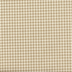 Close to Custom Linens - Bradford Valance Gingham and Ticking Stripe Linen Beige - A charming traditional gingham check in linen beige on a cream background.