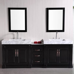 Design Element Odyssey 90-in. Double Bathroom Vanity Set - The Design Element Odyssey 90-in. Double Bathroom Vanity Set features quality craftsmanship and the finest in available materials, creating a stunning modern piece that your bathroom will greatly benefit from. Its sturdy frame is made from solid oak and features a dark espresso finish, accented with satin nickel finished hardware. Carrera white marble serves as the countertop, with two integrated sinks. Two soft-closing double-door cabinets are built into the frame, with three spacious pull-out drawers between them.About Design Element GroupBased in California, the Design Element Group is quickly becoming an industry leader, thanks to their focus on maintaining a position at the forefront of emerging trends in furniture design, modern materials, and quality craftsmanship. From their humble beginnings in 2010, Design Element Group has made quite the name for itself, providing high-quality bathroom vanities at an affordable price. Each piece is professionally designed and handcrafted, never mass-produced. Their passion, commitment to their products, and loyalty to their customer base has made the Design Element Group a company to take note of.