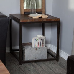 Belham Living Townsend End Table - The Townsend End Table is a perfect example of furniture that's stylish in its simplicity. Designed to stand next to a sofa, loveseat, or your favorite arm chair, this casual end table features simple, straight lines accentuated by the warmth and beauty of the visible wood grain. The rustic durable top is ideal for holding books, beverages, a lamp, or displaying small decor items. Crafted of strong fir wood, this end table has a thorough, multi-step finishing process that results in a rich, distressed finish - perfect for infusing a warm, rustic flair in your space. The metal frame and legs have a rustic-bronze finish that complements beautifully with the rest of the table.A special note on the unique quality of this itemSolid wood is used in the construction of this item rather than pre-manufactured MDF or veneers. For this reason, each piece will be truly unique. Wood knot placement will vary and each item will have its share of rough and smooth surfaces. Each product is truly one of a kind.About Belham LivingBelham Living builds catalog-quality furniture in traditional styles at a price that actually makes sense. By listening to our customers and working closely with great manufacturers, we build beautiful pieces worthy of your home. Rich wood finishes, attention to detail, and stylish lines that tie everything together are some of the hallmarks of a Belham Living piece. From the living room or bedroom, through the kitchen, and out onto the deck, there's something from an incredible Belham collection perfect for your style.