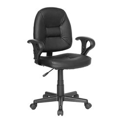 Flash Furniture - Contemporary Ergonomic Office Chair w Tufted - A leather task chair is sure to please visually as well as physically with its comfort. This contemporary seating is also ergonomically styled with shaped and stitched definition on the seat and back. Padded armrests are adjustable along with height and tension. One of the best task chair / computer chair values available on the internet. Ergonomically designed leather task chair. Height adjustable arms with padded arm rests. Black leather upholstery. Pneumatic seat height adjustment. Back tension control. Five star nylon base with dual wheel casters. Seat: 19 in. W x 18 in. D. Back: 16.5 in. W x 19 in. H. Seat Height: 16.25 in. - 20 in. H. Arm Height: 23 in. - 26.75 in. H. Overall: 24.5 in. W x 22.5 in. D x 33.75 in. - 37.5 in. H (22 lbs.)