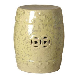 Moss Yellow Classic Prosperity Garden Stool - Classic ceramic garden stool with Chinese Prosperity motif. Moss yellow glaze.