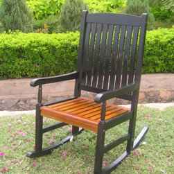 International Caravan - Outdoor Wood Rocker in Black & Oak - In black/oak finish. Made of Acacia hardwood. Weatherproof. Easy rocking motion. Great for porches. 23 in. W x 32 in. L x 44 in. H. Option to add a custom made cushion for added comfort and style