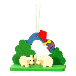 "Alexander Taron - Alexander Taron Christian Ulbricht Ornament- Lambs with Kite-2""H x2.75""W x1.25""D - Christian Ulbricht hanging ornament - Easter lambs with kite - Made in Germany."