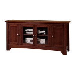 Walker Edison - Solid Wood TV Console with 4 Doors - Made of Solid Wood. Pictured in Brown. Stylish contemporary design. Rich solid wood construction. Accommodates most flat-screen TV's up to 55 in.. Adjustable shelving provides ample storage space for A/V Components. Holds 250 lbs. . Glass doors. Ships Ready-To-Assemble. Assembly instructions plus toll-free number and online support available. Console: 52 in. W x 18 in. D x 24 in. HElegance and function combine to give this contemporary solid wood TV console a striking appearance. The design gives a stylish modern look crafted with solid Asian hardwood. Console will accommodate most flat-screen TVs up to 55 in. Adjustable shelving allows for a wide range of A/V components.