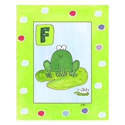 Oh How Cute Kids by Serena Bowman - F is for Frog, Ready To Hang Canvas Kid's Wall Decor, 8 X 10 - Each kid is unique in his/her own way, so why shouldn't their wall decor be as well! With our extensive selection of canvas wall art for kids, from princesses to spaceships, from cowboys to traveling girls, we'll help you find that perfect piece for your special one.  Or you can fill the entire room with our imaginative art; every canvas is part of a coordinated series, an easy way to provide a complete and unified look for any room.