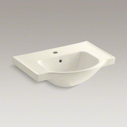"""KOHLER - KOHLER Veer(TM) 24"""" single-hole sink basin - The Veer pedestal sink basin combines crisp, sophisticated style with a functional design that's perfect for smaller bathrooms. The basin offers an ample deck on both sides to hold toiletries and grooming items. Pair it with the coordinating Veer pedestal for a stylish, affordable solution."""