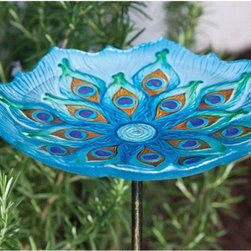 Evergreen Enterprises - Peacock Birdbath on Stake - Glass Birdbath with metal 2-piece stake have 3-prong bottoms