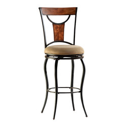 Hillsdale Furniture - Hillsdale Pacifico Swivel 26 Inch Counter Height Stool - Black metal with copper highlights mix with wood finished in honey maple tones to accomplish the cool, refreshing look of Hillsdale's Pacifico barstools. Clean lines with just enough curve, versatile beige microfiber cushioned seats, and neutral finishes make this transitionally designed bar stool perfect for your bar, or eat in kitchen. This 360 degree swivel stool is available in counter and bar heights. Constructed of sturdy fully welded heavy gauge metal and climate controlled wood composites. Assembly required.