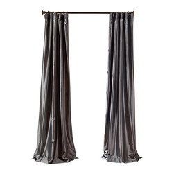 """Exclusive Fabrics & Furnishings, LLC - Graphite Faux Silk Taffeta Curtain - 56% Nylon & 44% Polyester. 3"""" Pole Pocket with Hook Belt. Lined. Interlined. Imported. Weighted Hem. Dry Clean Only. SOLD PER PANEL."""