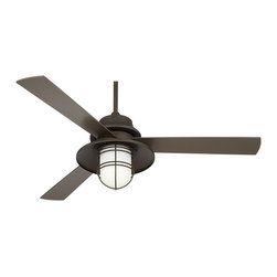 """Casa Vieja - Arts and Crafts - Mission 52"""" Casa Solera Industrial Bronze Outdoor Ceiling Fan - With an integrated industrial-style light the Solera oil-rubbed bronze ceiling fan offers general room lighting and a cooling breeze. It's UL listed for damp locations and features three UV coated wood blades. Includes remote control and an energy-efficient light bulb. From Casa Vieja. Oil-rubbed bronze motor finish. Three oil-rubbed bronze finish UV coated wood blades. 52"""" blade span. 153 x 15 mm motor size. UL listed for damp locations. Remote control included. Integrated industrial-style light. Includes one 27 watt CFL medium base bulb. Opal matte glass. 4 1/2"""" downrod included.  Oil-rubbed bronze motor finish.  Three oil-rubbed bronze finish UV coated blades.  52"""" blade span.  153 x 15 mm motor size.  12 degree blade pitch.  UL listed for damp locations.  Remote control included.  Integrated industrial-style light.  Includes one 27 watt CFL medium base bulb.  Opal matte glass.  4 1/2"""" downrod included.  Fan height 12"""" ceiling to blade (with 4.5"""" downrod).  Fan height 20"""" ceiling to bottom of light kit (with 4.5"""" downrod).   Canopy 6"""" wide 2 3/4"""" high."""