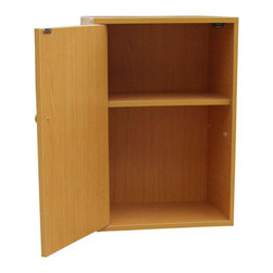 ORE International - Adjustable Book Shelf with Door - Two shelves. Uniquely designed scratch-resistant surface. Easy to clean. Warranty: 30 days. Made from wood. Beige finish. Assembly required. 16.5 in. W x 12 in. D x 23.5 in. H (23 lbs.)This book case will not only help you organize your books and magazine but will also increase storage space for you. The additional stylish door will protect your reading materials from dust, nature, and wandering eyes.