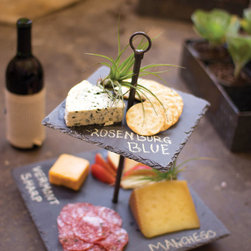 Two-Tiered Slate Server - Suited to a chic wine and cheese party or some simple appetizers with friends, this slate tray looks great for serving up some tasty morsels. With a bit of chalk, you can label your goodies for a trendy and easy party experience.